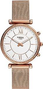 Fossil Montre connectée hybride Carlie en acier inoxydable doré rose FTW5060