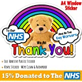 Rainbow Teddy Bear Thank You Sticker to Our NHS and All Our Key Workers We Love You Heart Car Bumper Decal 140mm COVID Coronavirus Quarantine Virus Self-Isolating Outside Window