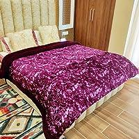 Livasto Wine Color Rose Emboss Design Winter Quilt, Double/King Size (1pc Quilt)