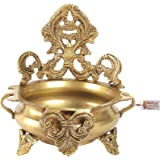 Two Moustaches Ethnic Carved Brass 7 Inches Decor Urli Bowl, Golden, Standard