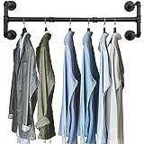 OROPY Industrieel kledingrek voor pijpen, 105 cm aan de muur bevestigde afneembare retro metalen kledingstang hangrail (Vier