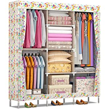 53ac487832b FurnCentral 2 Door PP Collapsible Wardrobe (Finish Color - Fruits and  Flowers)
