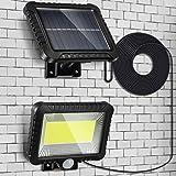Luces de Seguridad Solar al Aire Libre, Inducción del cuerpo humano de 5 m, 100 LEDs Solares Exteriores Iluminación Focos Imp
