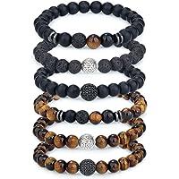 Adramata 6-8Pcs 8mm Bracelet Oeil de Tigre pour Homme Bracelet en Pierre Naturelle Perles de Yoga Cracelets élastiques…