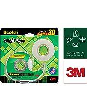 Scotch Magic Tape - The Original Matte-Finish Invisible Tape by 3M, Super Saver Pack - 2 Rolls (Width 1.9cm Length 25.4m) + 1 Dispenser