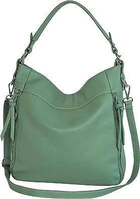 AmbraModa GL030 - Damen echt Ledertasche Handtasche Schultertasche Beutel Umhängetasche
