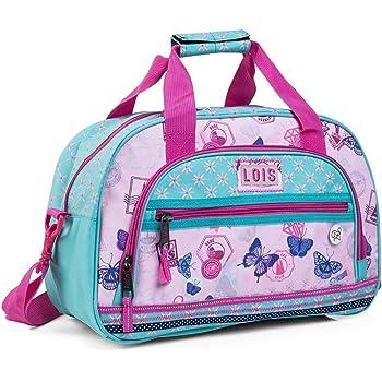 Lois - Bolsa Infantil de Poliéster. con Doble asa y Bandolera Ajustable. Multifuncional: Viaje, Deporte, Gimnasio, Colegio, etc 54140, Color Rosa