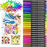 Gifort Rotuladores para Tela Permanentes, 24 Colores Marcadores Textiles Sin Sangrado y No Tóxico para Niños Adultos Regalos