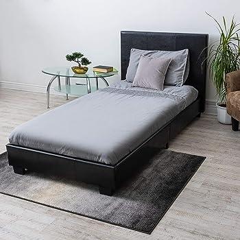 Home Treats Single Bed Faux Leather Bed Frames Black Prado