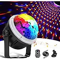 Discokugel,LED Party Lampe Partylicht mit Sternenmuster, 11 Farbe RGBY Musikgesteuert 4M USB, Disco Lichteffekte 360…