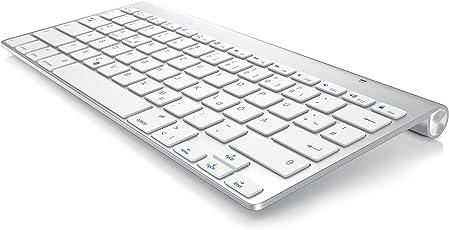 CSL - Slim Bluetooth Tastatur im Apple Style | wireless Keyboard | Mac Style | Multimedia-Funktionstasten | Status-LED (blau) | QWERTZ-Layout (Deutsch) | Für iOS, Android, Windows | Für u.a. Desktop-PC, Notebook, Netbook, Ultrabook, MacBook, MacBook Air, MacBook Pro, Mac mini, iMac, Mac Mini, Mac Pro, iPad, iPhone, Smartphone oder auch Tablet-PC