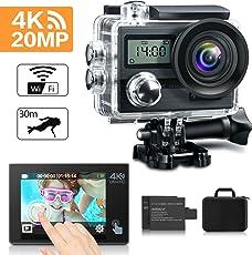 KAMTRON 4K Action Cam WiFi Sport Action Kamera - 20MP 170¡ãWeitwinkel Ultra Full HD Unterwasserkamera Helmkamera Wasserdicht mit 2.4G Fernbedienung 2 verbesserten Akkus und Transporttasche und kostenlose Accessoires