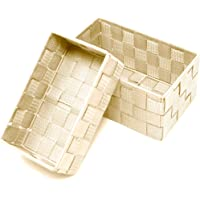 Lashuma Lot de 2 corbeilles de salle de bain Beige Dimensions : 19 x 10 x 7 cm et 20 x 13 x 10 cm
