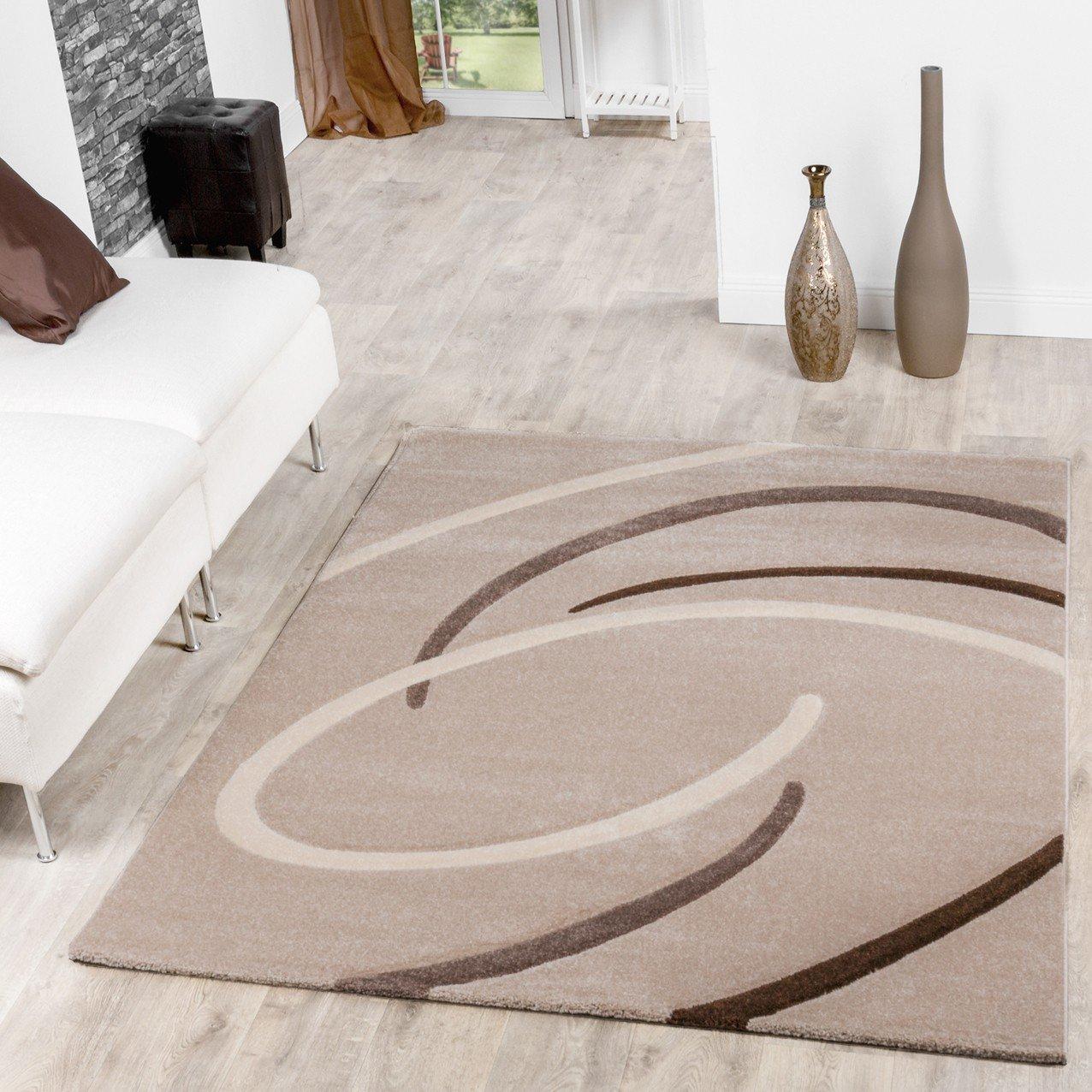 Poils courts ebro avec motif spirales beige tapis moderne salon ...