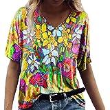 WXDSNH T-Shirt da Donna con Stampa Digitale Estiva Manica Corta Casual con Scollo a V E Top Larghi da Donna