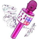 Microfono Karaoke con luci LED, 4 in 1 Microfono Bluetooth Wireless per Bambini con Altoparlante e Registrazione, Home Party