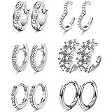 Yadoca 6 paia di orecchini a cerchio Huggie per le donne Orecchini a polsino con zirconi cubici Orecchini a forma di cartilag