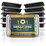 Emerald Living Premium 1 Compartment Meal Prep Container Set. 10 pack of BPA Free Plastic Food Containers with Lids. Bonus Ebook included. 1.1L.