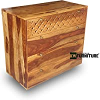 Kingwood Furniture Munich Chest of Four Drawer in Solid Sheesham Wood (Rosewood) (Standard, Honey Finish)