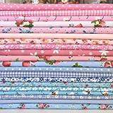 Fabric Penguin 20 Piece Polycotton Bundle of Shabby Chic Soft Blues & Pink Fabrics 25cm X 25cm