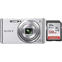 Sony Cybershot DSC-W830/S 20.1MP Digital Camera (Silver) with 8X Optical Zoom and Camera Case + SanDisk 128GB Ultra SDXC…