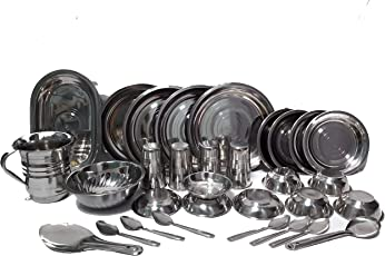 ZIGLY Stainless Steel Dinner Set (Set of 31) (Glass, Curry Bowl, Desert Bowl, Spoon, Quarter Plate and Full Plate,Jug,Tray) Good for Gift and Self Use