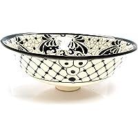 Serena Lavabo en céramique Mexicain Noir – Cerames | Vasque de lavabo 40,5 cm x 15 cm | Lavabo en Mexique pour salle de bain, WC d'invités