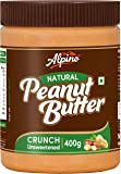Alpino Natural Peanut Butter Crunch 400 G | Unsweetened | Made with 100% Roasted Peanuts | No Added Sugar | No Added…