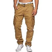 Indicode Uomo William Pantalone Cargo in Cotone con 7 Tasche incl. Cintura | Lungo Regular Fit Pantaloni Casual da…