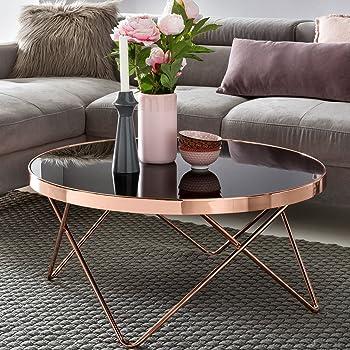 FineBuy Design Couchtisch Round ø 82cm Rund Glas Kupfer | Runder Lounge  Tisch Verspiegelt | Moderner Wohnzimmertisch | Glastisch Sofatisch Für  Wohnzimmer ...