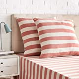 Amazon Basics-Jersey Pillowcases, Pack of 2, broad Stripes-65 x 65 cm, Red