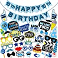 WOBBOX Tenth Birthday Photo Booth Party Props Blue for Baby Boy with 10th Birthday Bunting Banner for Baby Boy in Blue, 10th