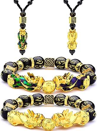 4 Pezzi Feng Shui Pi Xiu Pi Yao Set Collana Braccialetto, Feng Shui Fortunato Nafu Ricchezza Collane Regolabile Braccialetto di Perle Nere con Perle di Amuleto Intagliate a Mano per Uomo Donna