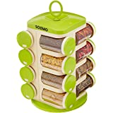 Amazon Brand - Solimo Revolving Plastic Spice Rack set (16 pieces,Silver)