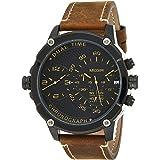 ساعة كوارتز للرجال من ميجر بشاشة عرض كرونوغراف وسوار من الجلد - طراز 2093G