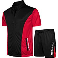 MANLUODANNI Men's Tracksuit Set for Summer Full Zip Short Sleeve Top T-Shirt Jogger Shorts Bottom Sportswear Tracksuit…