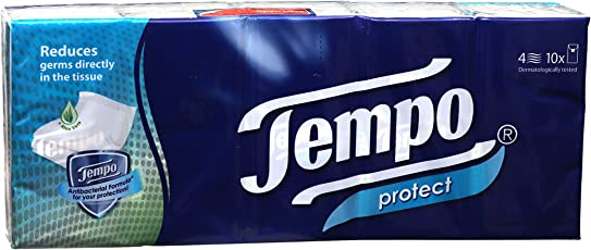 Tempo Protect Handkerchief 4 Ply - 10 Napkins (Pack of 10)
