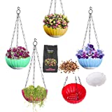 DOAP Plastic Big Hanging Pot & 2pck Flower Seeds-Self Watering Planter, Multicolor, 8.5 inch, 5 Piece