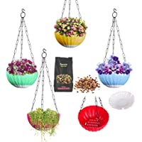 DOAP Hanging pots for Balcony/Outdoor/Indoor. Self Watering Hanging planters/Basket (Size:Medium 5pcs) Suitable for…