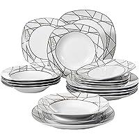 VEWEET Serena 18pcs Assiettes Pocelaine Service de Table 6pcs Assiettes Plates 24,7cm, 6pcs Assiette Creuse 21,5cm, 6pcs…