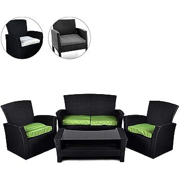 Hochwertig Nexos Rattan Set 4tlg Mit Glastisch Grün Garnitur Gartenmöbel Sitzgruppe Poly  Rattan Inkl. Höhenverstellbare Füße