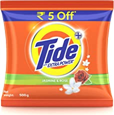 Tide Plus Detergent Washing Powder with Extra Power Jasmine and Rose Pack - 500 g (Rupees 5 off)