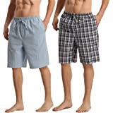 LANBAOSI Mens Pyjamas Shorts Summer Comfy Pjs Bottoms Plaid Lounge Pants Soft Checked Casual Drawstring Sleepwear 2 Pack