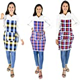 GLUN Cotton Kitchen Multi Colour Apron with Front Pocket - Set of 3(Color and Design May Vary)