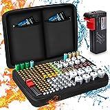 Batterij-opbergdoos, vuurvaste draagtas, batterijbox met tester, houdt 199+ batterijen van verschillende groottes voor AAA, A