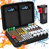 Battery Organiser Storage Case, Keenstone Battery Storage Box Case Holds 199 Batteries Various Sizes (AA AAA C D 9V…