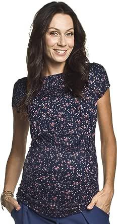 dunkelblau mit Blumen Torelle Damen 2in1 Umstandsshirt mit Stillfunktion Modell: GAJA M Kurzarm