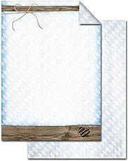 100 Blatt Briefpapier Druckerpapier blau-weiß kariert BAYERN-RAUTE braun Holz-Optik beidseitig bedruckt 100g Schreibpapier Motiv-Papier DIN A4 Brief-Bogen vintage HERZ