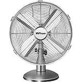 MVPower Ventilateur de Table, 3 Vitesses, 34.5cm Diamètre, Oscillation 75 °, Inclinaison Réglable 10 °, 4 Pales, Ventilateur