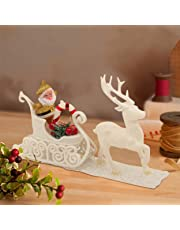 TIED RIBBONS Christmas Xmas Decoration Items for Home Office Table Santa Claus Reindeer Cart (White)